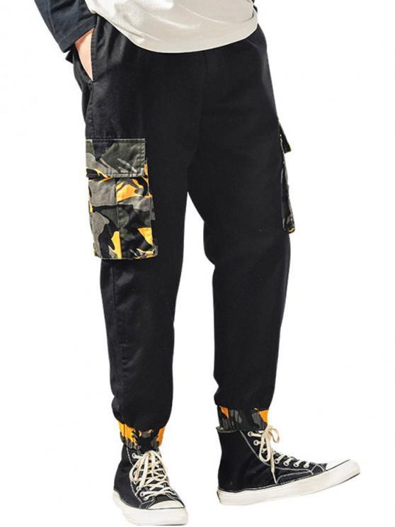 Camufla Print Pantaloni Clapeta de buzunar Cordon jogger - Noapte L