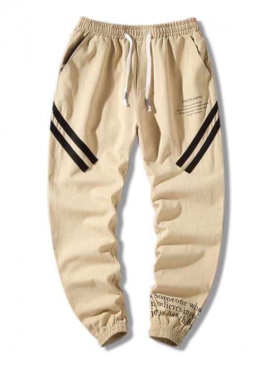 Scrisoare Graphic Print pantaloni casual - Vanilie 4XL