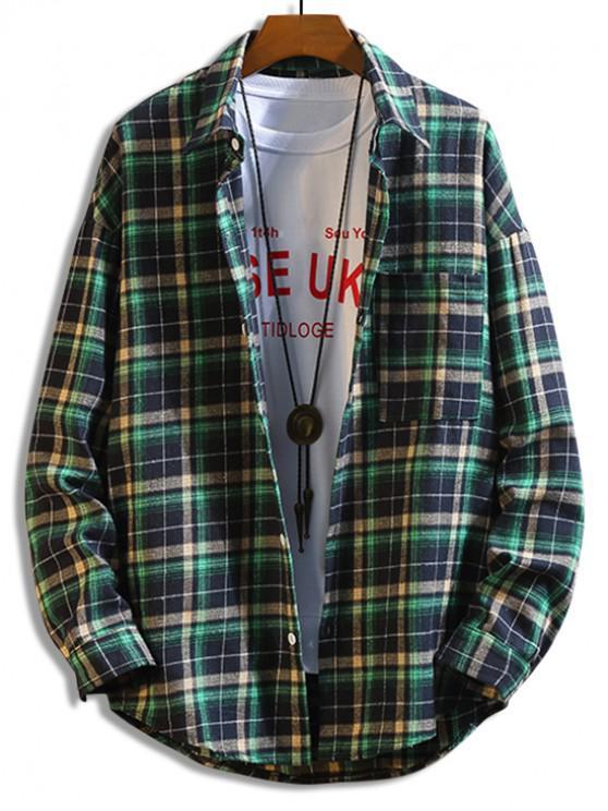 womens Plaid Print Pocket Button Long-sleeved Shirt - LIGHT SEA GREEN 4XL