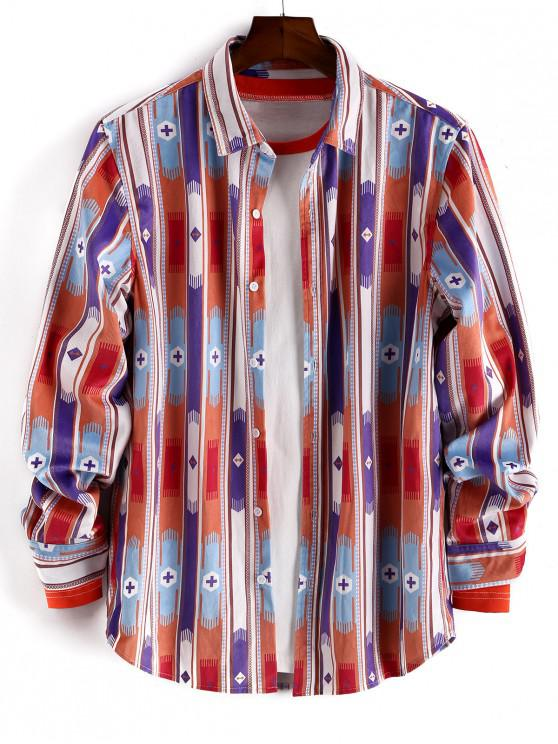 lady Casual Printed Button Up Long-sleeved Shirt - MULTI-A 2XL