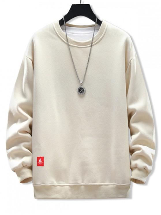 trendy Solid Applique Crew Neck Sweatshirt - APRICOT 2XL