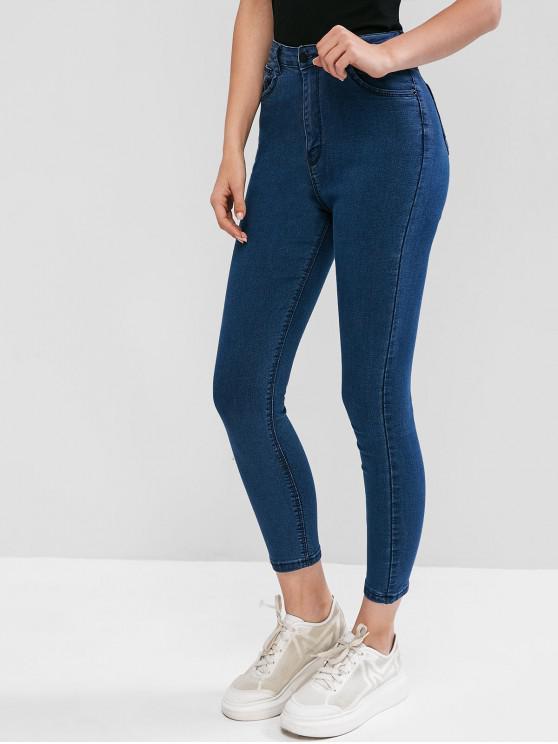 womens Skinny Zip Fly Pocket Elastic Jeans - DEEP BLUE S