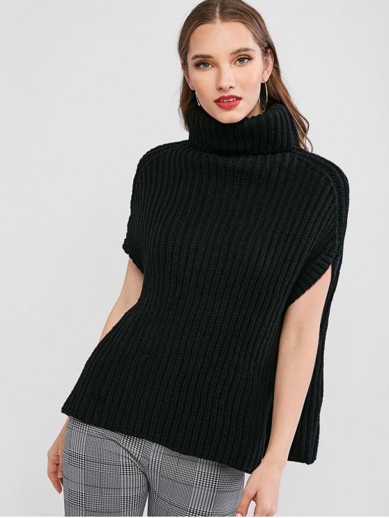 Chunky Turtleneck Poncho Sweater - Preto Um Tamanho