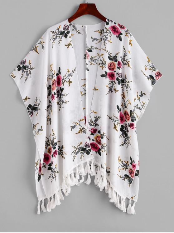 online ZAFUL Flower Tassel Open Front Poncho Cover Up - MULTI-A ONE SIZE