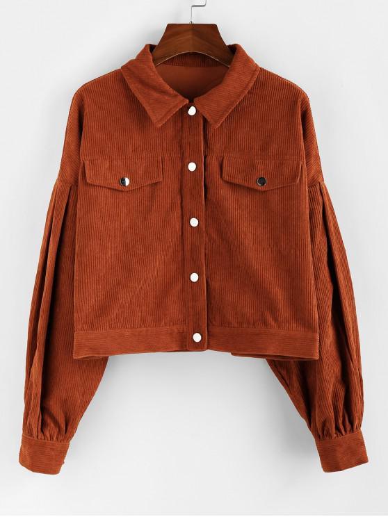 shops ZAFUL Corduroy Drop Shoulder Shirt Jacket - SEPIA XL