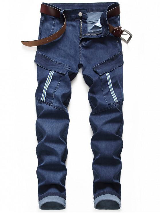 new Casual Pocket Decoration Zip Fly Jeans - DENIM DARK BLUE 34