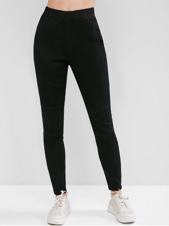 womens High Waisted Stretchy Slim Biker Jeans - BLACK L