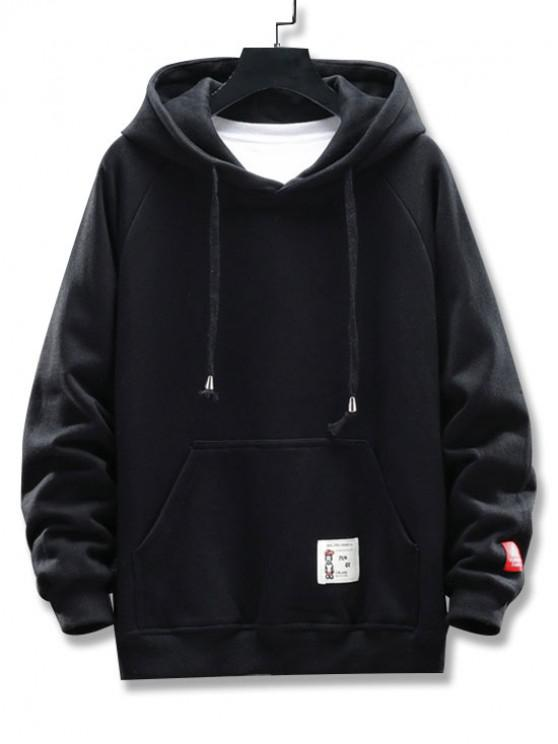affordable Graphic Letter Pattern Pocket Design Hoodie - BLACK 3XL