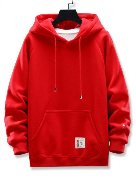 new Graphic Letter Pattern Pocket Design Hoodie - RED L