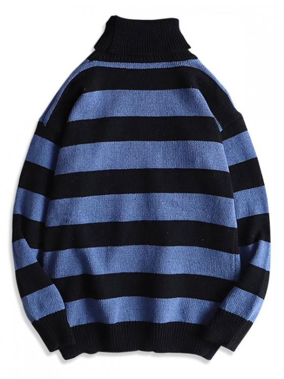 outfit Turtleneck Striped Drop Shoulder Sweater - PEACOCK BLUE XS
