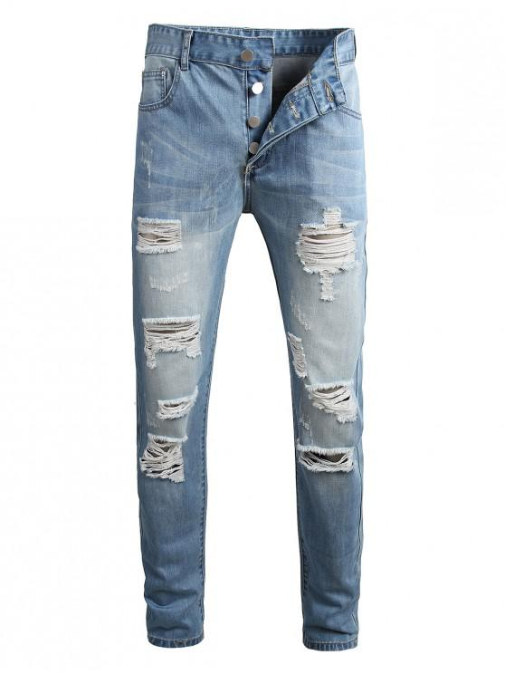 women Destroyed Wash Button Fly Casual Jeans - JEANS BLUE 36