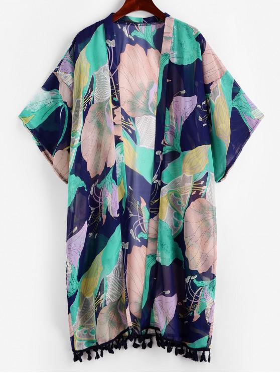 women ZAFUL Flower Tassel Drop Shoulder Kimono Cover Up - MULTI-A ONE SIZE
