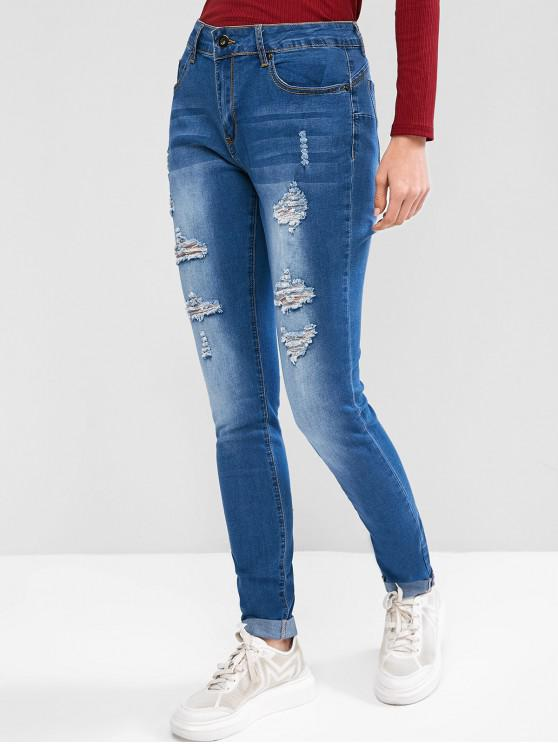 affordable Ripped Pocket Skinny Cuffed Jeans - LIGHT BLUE 2XL