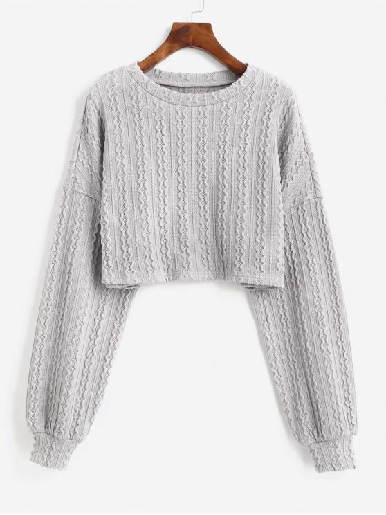 unique ZAFUL Lantern Sleeves Solid Crop Sweater - GRAY CLOUD M