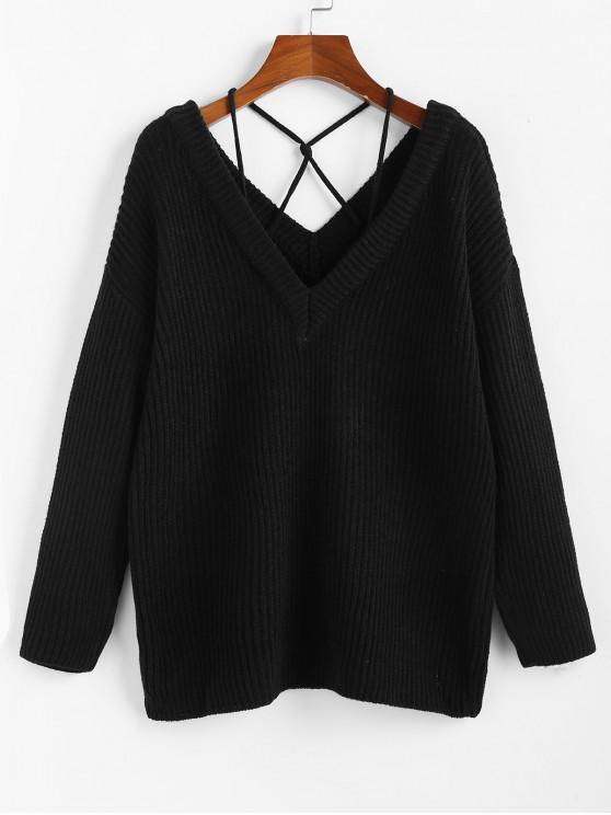 buy ZAFUL Plunging Drop Shoulder Criss Cross Jumper Sweater - BLACK S