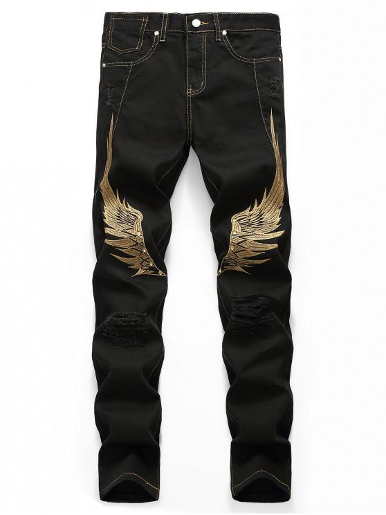 affordable Wing Embroidered Zip Fly Casual Jeans - BLACK 40