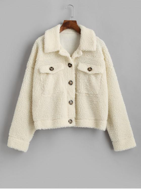 lady ZAFUL Drop Shoulder Flap Pocket Teddy Coat - BEIGE L