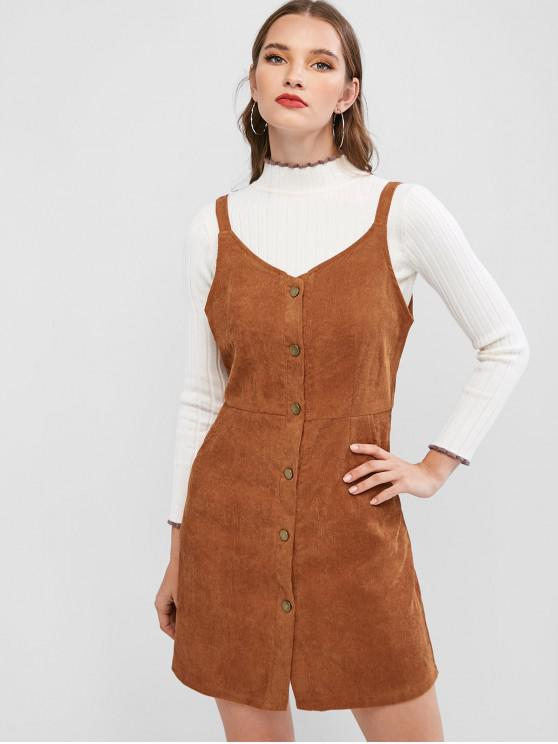women's Button Up Corduroy Sleeveless Flare Dress - BROWN M