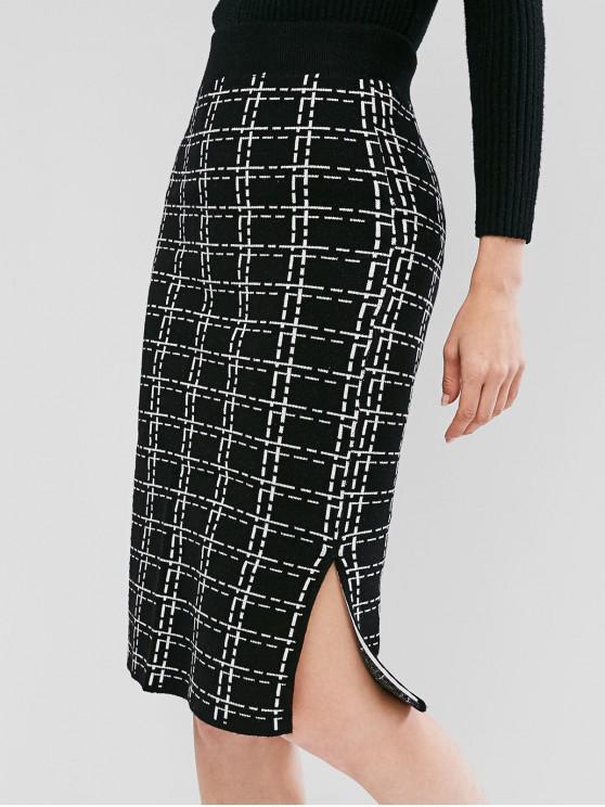 lady Knit Grid Pencil Skirt - BLACK ONE SIZE