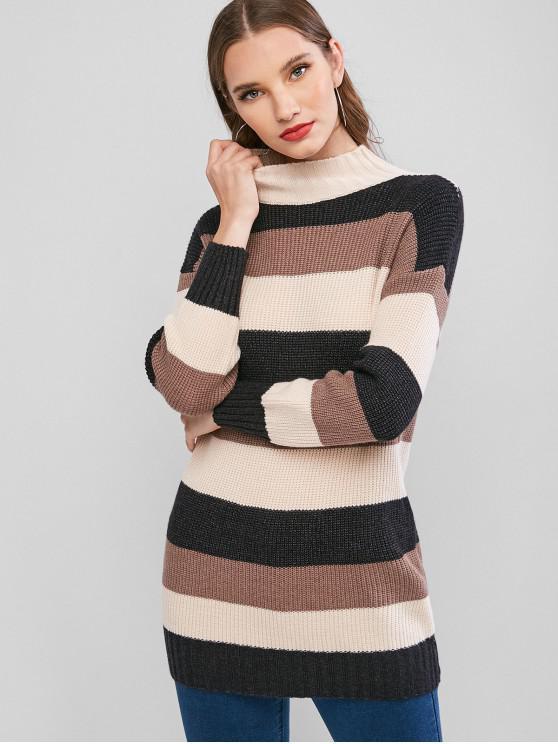 Mock Neck colorblock Stripes Longline Pulover - Multi-A O marime