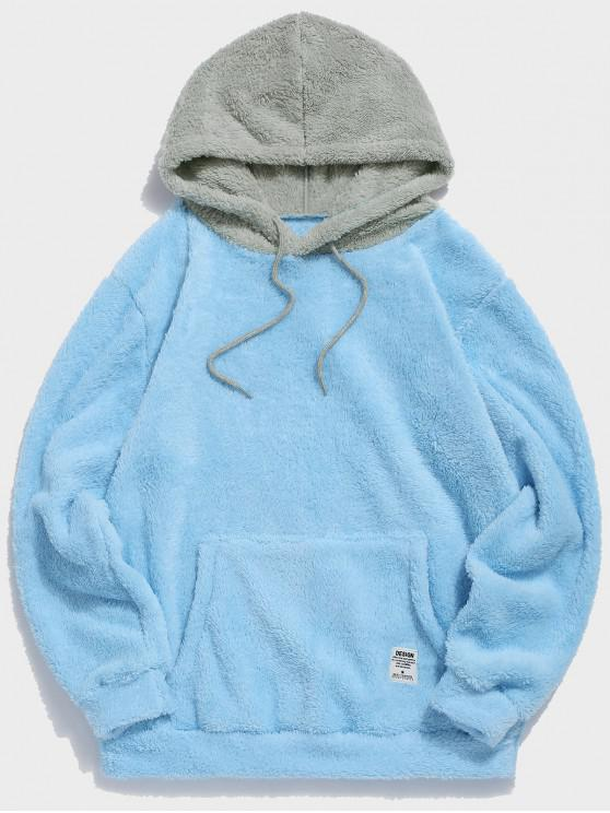 chic Colorblock Splicing Drawstring Fluffy Hoodie - LIGHT SKY BLUE L