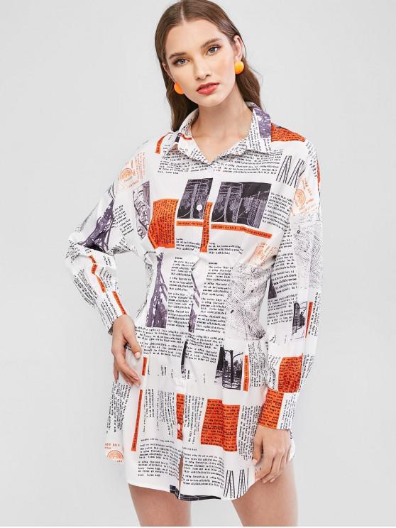ladies ZAFUL Newspaper Print Long Sleeve Shirt Dress - WHITE S