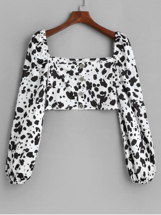 trendy ZAFUL Cow Print Buttons Crop Tee - WHITE L