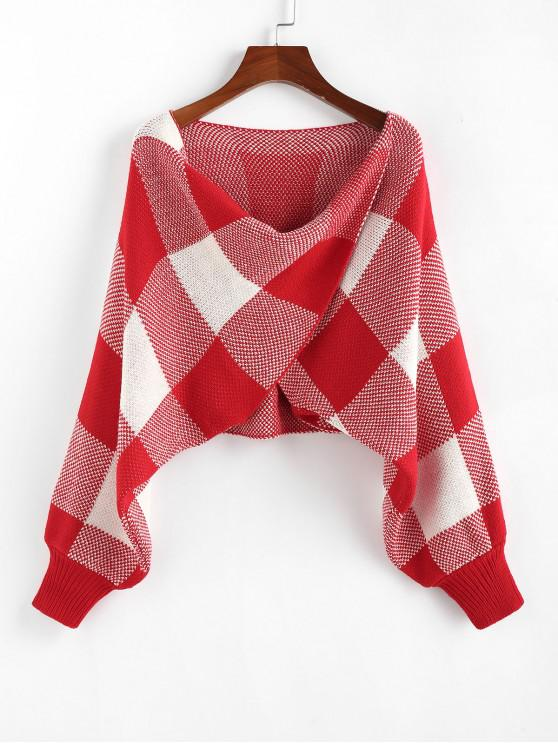 fashion ZAFUL Checkered Cowl Front Twisted Batwing Sleeve Sweater - RED M