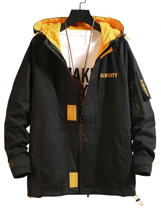 buy Letter Embroidery Raglan Sleeve Hood Cargo Jacket - BLACK 3XL