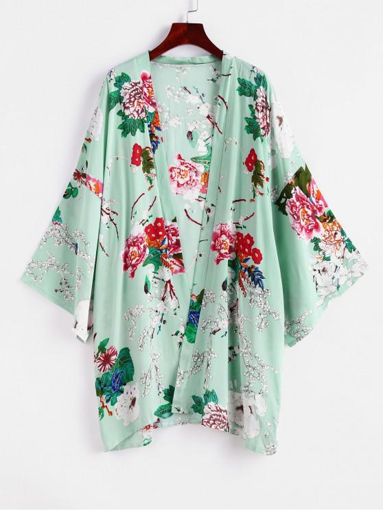 best ZAFUL Flower Drop Shoulder Kimono Cover Up - MULTI-A ONE SIZE