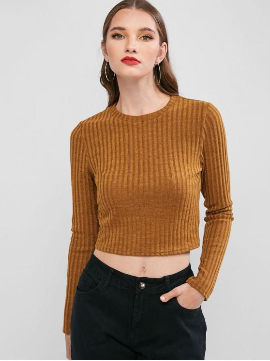 women ZAFUL Long Sleeves Ribbed Solid Tee - DARK GOLDENROD XL