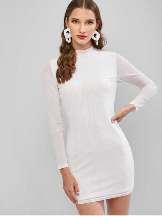 ZAFUL Mini Robe Moulante en Maille Insérée - Blanc S