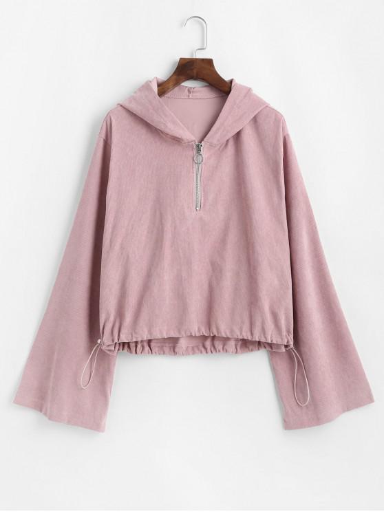 womens ZAFUL Corduroy Toggle Drawstring Quarter Zip Hoodie - ROSE XL