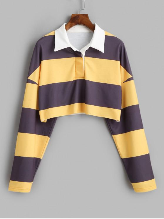 hot ZAFUL Two Tone Striped Raw Cut Placket Sweatshirt - MULTI M