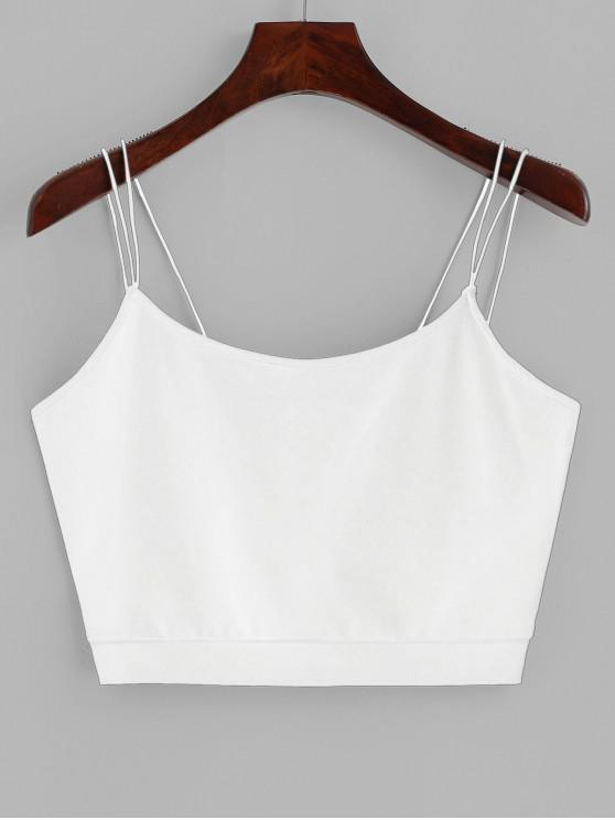 ladies ZAFUL Solid Color Crop Strappy Cami Top - WHITE XL