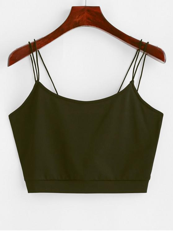 latest ZAFUL Solid Color Crop Strappy Cami Top - ARMY GREEN S