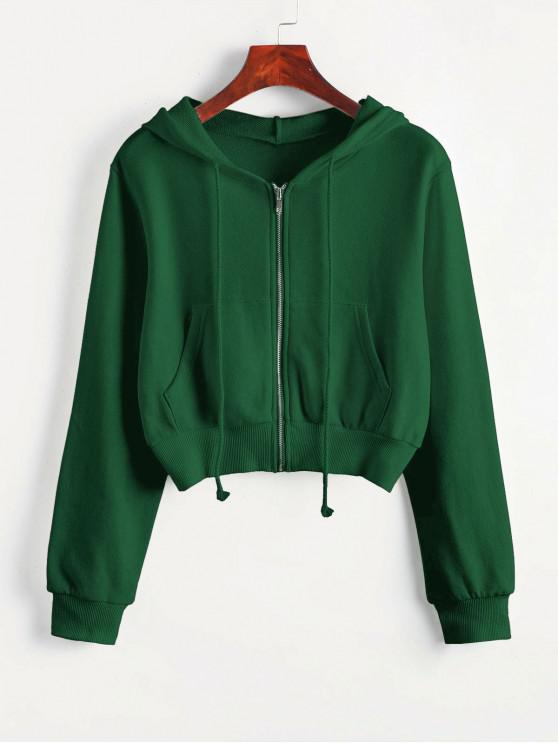 latest Zip Up Pockets Crop Drawstring Hoodie - GREEN M