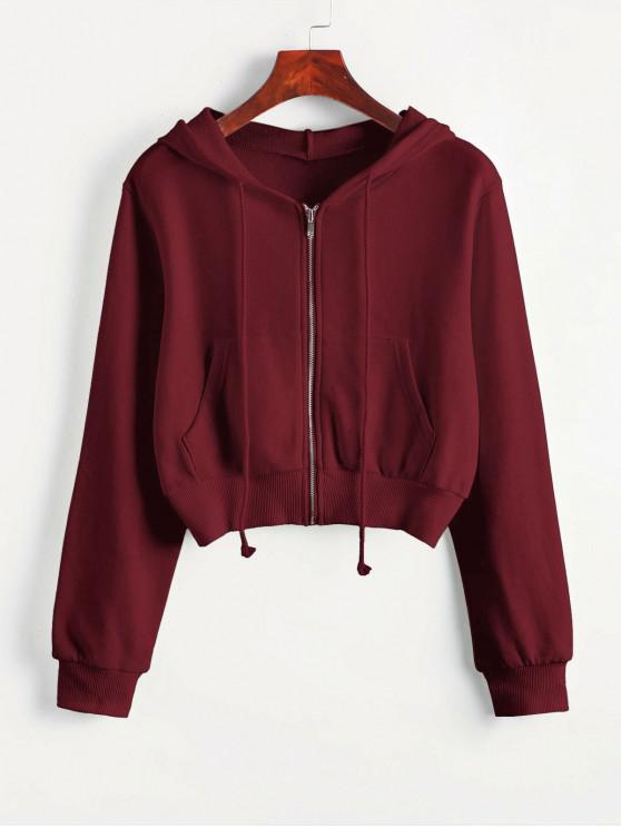 shop Zip Up Pockets Crop Drawstring Hoodie - RED WINE XL