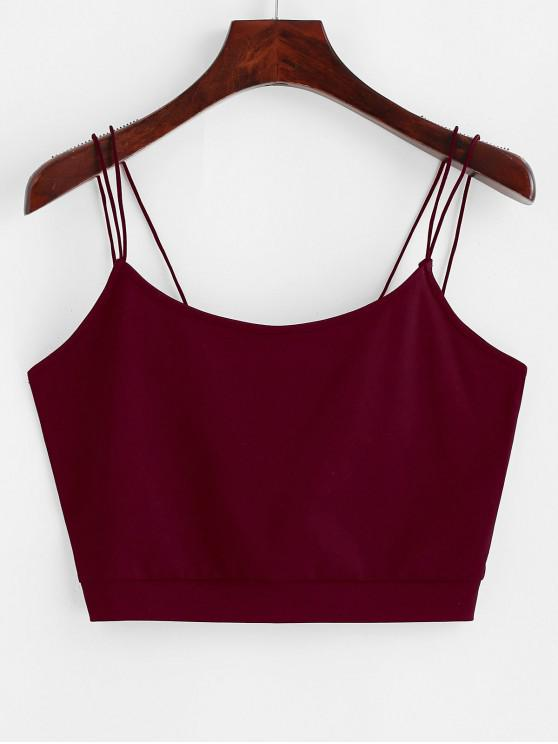 women ZAFUL Solid Color Crop Strappy Cami Top - RED WINE L