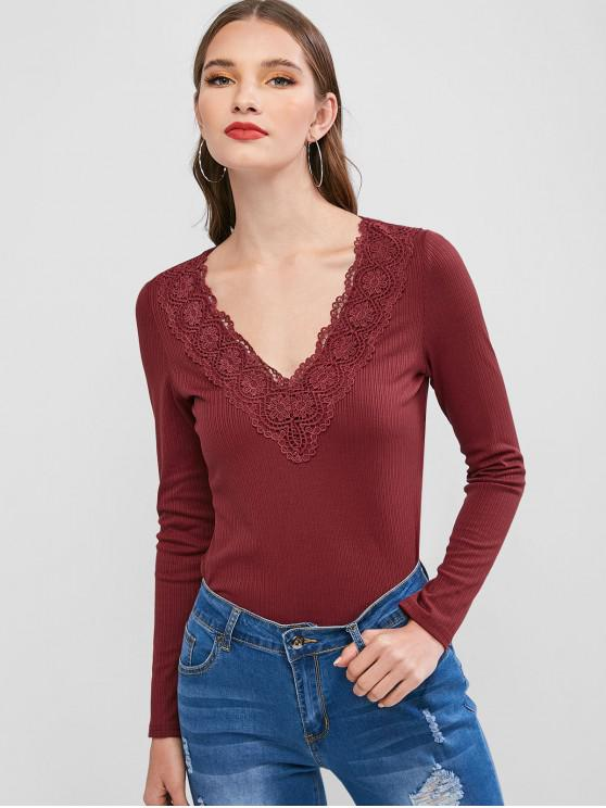 women ZAFUL Ribbed Guipure Lace Plunging T-shirt - RED WINE XL