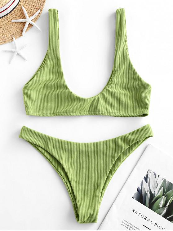 chic ZAFUL Ribbed Scoop Bikini Swimsuit - SALAD GREEN M