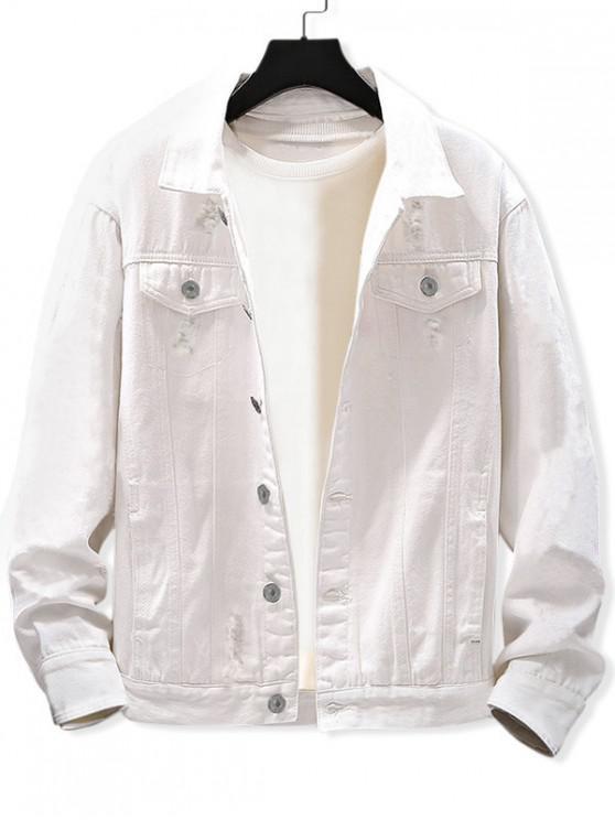ladies Casual Destroy Wash Ripped Denim Jacket - WHITE 2XL