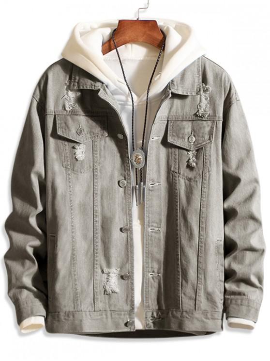 best Casual Destroy Wash Ripped Denim Jacket - GRAY L