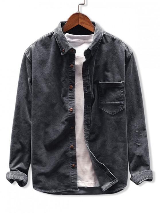 ladies Solid Color Pocket Corduroy Shirt - DARK GRAY M