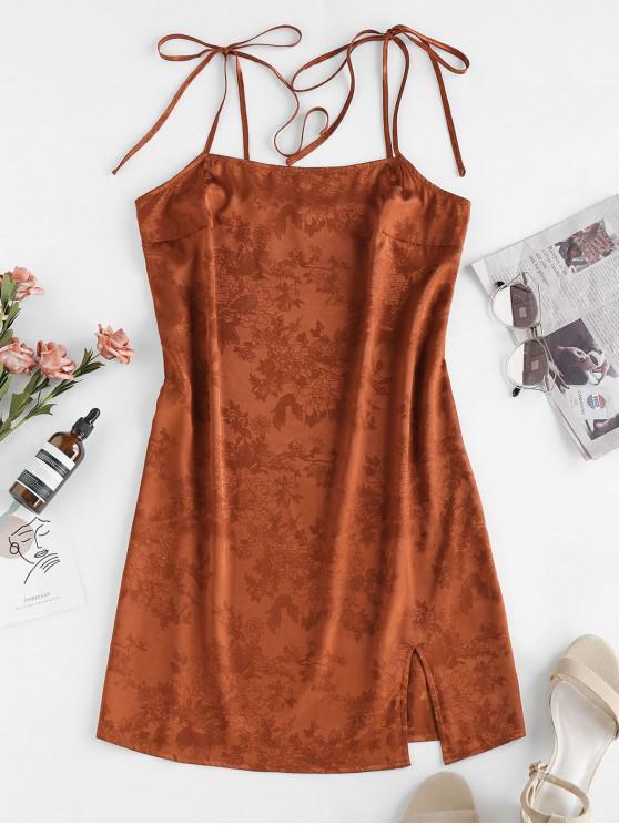 women's ZAFUL Jacquard Tie Shoulder Cami Slit Dress - BROWN S