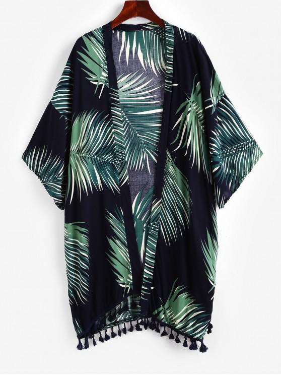 outfit ZAFUL Leaf Print Tassel Drop Shoulder Collarless Cover Up - BLACK ONE SIZE