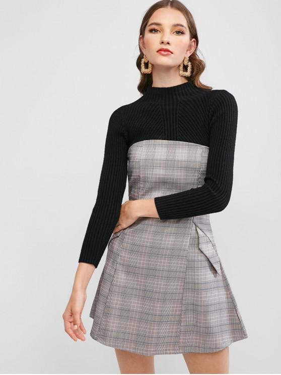 Non Slip Glen Plaid Strapless Dress Khaki