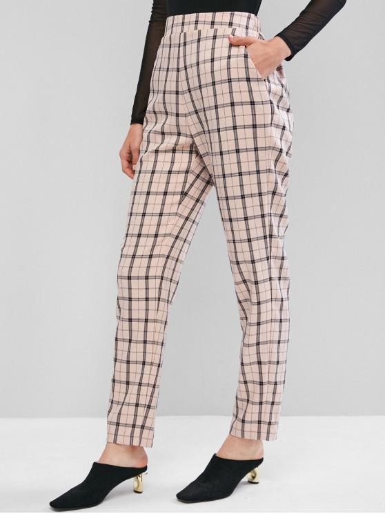 best ZAFUL Plaid High Waisted Straight Pants - LIGHT PINK XL