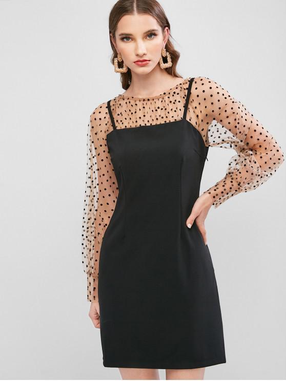 new Flocking Dot Mesh Panel Sheath Dress - BLACK XL