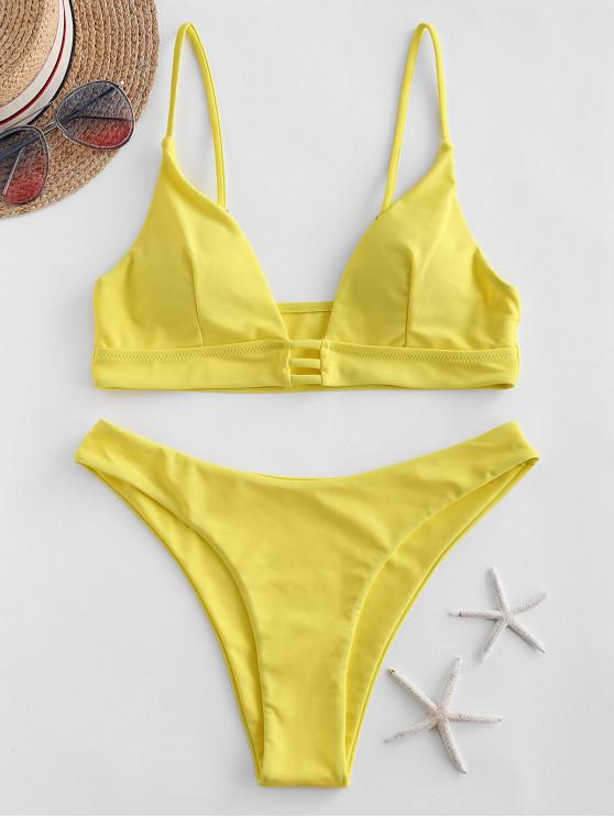 women's ZAFUL Strappy High Cut Bikini Swimsuit - YELLOW L